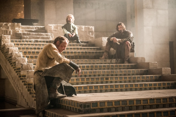 Iain Glen as Jorah Mormont, Peter Dinklage as Tyrion Lannister, Michiel Huisman as Daario Naharis